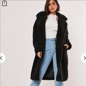 Missguided black oversized teddy coat